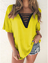 cheap -Women's Solid Colored Cut Out T-shirt Daily V Neck Wine / Blue / Purple / Yellow / Orange / Green