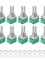 cheap -Potentiometer B10K B50K B100K Ohm Variable Resistors Double Turn Rotary Carbon Film Taper RV097G 10pcs