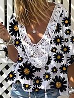 Недорогие -Жен. Цветочный принт маргаритка С принтом Свободный силуэт Футболка Богемный Повседневные V-образный вырез Белый / Лиловый / Желтый / Розовый / Светло-синий