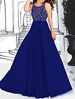 cheap -A-Line Elegant Blue Engagement Formal Evening Dress Jewel Neck Sleeveless Sweep / Brush Train Chiffon with Pleats Beading 2020