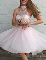 cheap -Two Piece Beautiful Back Sexy Homecoming Cocktail Party Dress Halter Neck Sleeveless Short / Mini Tulle with Beading Sequin 2020