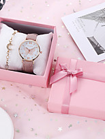 cheap -Women's Quartz Watches Classic Fashion Grey Pink PU Leather Quartz Blushing Pink Gray Chronograph Cute Casual Watch 1 set Analog