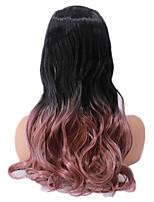 Недорогие -Парики из искусственных волос Кудрявый Ассиметричная стрижка Парик Длинные Темно-русый флуоресцентный зеленый Розовый + Красный Серебристо-серый Искусственные волосы 18 дюймовый Жен.
