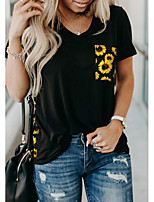 Недорогие -Жен. Цветочный принт Леопард Пэчворк С принтом Футболка Повседневные V-образный вырез Черный / Желтый