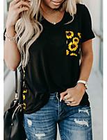 cheap -Women's Floral Leopard Sun Flower Patchwork Print T-shirt Daily V Neck Black / Yellow