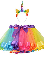 cheap -Princess Unicorn Dress Outfits Girls' Movie Cosplay A-Line Slip Purple / Yellow / Light Purple Skirt Headband Children's Day Masquerade
