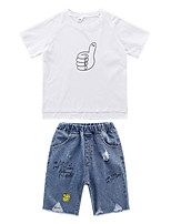 cheap -Kids Toddler Boys' Basic School Print Short Sleeve Regular Regular Clothing Set White