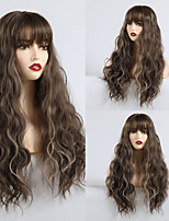 cheap -Synthetic Wig kinky Straight Water Wave Lily Neat Bang Wig Long sepia Synthetic Hair 24 inch Women's Cute Party Comfortable Brown