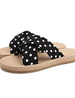 cheap -Women's Slippers & Flip-Flops Summer Flat Heel Open Toe Sweet Daily Outdoor Polka Dot Polyester Black / Green / Beige