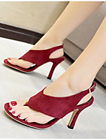 cheap -Women's Sandals Heel Sandals Summer Stiletto Heel Round Toe Daily PU Black / Burgundy
