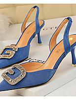 cheap -Women's Sandals Summer Low Heel Open Toe Daily PU Almond / Black / Yellow