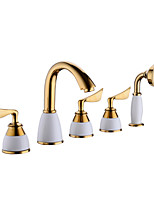 cheap -Bathtub Faucet - Contemporary Ti-PVD Tub And Shower Ceramic Valve Bath Shower Mixer Taps