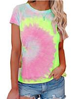 cheap -Women's Tie Dye T-shirt Daily Weekend Purple / Yellow / Blushing Pink / Fuchsia / Green