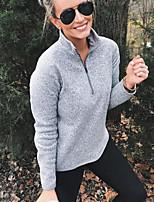 cheap -Women's Sweatshirt Solid Colored Casual Purple Green Gray S M L XL