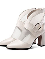 cheap -Women's Boots Spring &  Fall / Spring & Summer Chunky Heel Pointed Toe Daily Party & Evening Faux Leather White / Black
