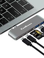 Недорогие -Kawbrown 6 в 1 алюминиевый USB-концентратор USB-типа с адаптером концентратора USB-разветвитель USB-док типа с концентратором для ноутбука MacBook