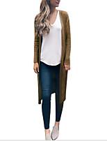 Недорогие -Жен. Повседневные Длинная Пальто, Однотонный V-образный вырез Длинный рукав Полиэстер Винный / Желтый / Темно-серый
