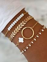 cheap -4pcs Women's Bracelet Layered Leaf European Trendy Fashion Alloy Bracelet Jewelry Gold For Gift Prom Date Birthday Festival