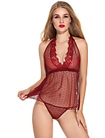 cheap -Women's Lace / Backless / Mesh Suits Nightwear Solid Colored Wine Blue Black S M L