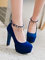cheap -Women's Heels Summer Stiletto Heel Round Toe Daily Suede Black / Red / Blue