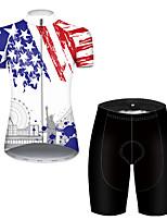 Недорогие -21Grams Жен. С короткими рукавами Велокофты и велошорты Полиэстер Черный / Белый Американский / США Статуя Свободы Флаги Велоспорт Наборы одежды / Эластичная / Дышащий / Горные велосипеды
