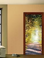 cheap -3D Bamboo Forest Trail Landscape Waterfalls Door Wall Sticker Living Room Kitchen PVC Self-Adhesive Waterproof Sticker On The Doors Wallpaper 1 set 2pcs