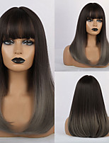 cheap -Synthetic Wig Bangs Curly Water Wave Side Part Neat Bang With Bangs Wig Ombre Medium Length Ombre Brown Synthetic Hair 18 inch Women's Cosplay Women Synthetic Ombre HAIR CUBE / African American Wig