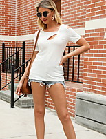cheap -Women's Solid Colored T-shirt Daily V Neck White