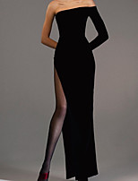 cheap -Sheath / Column Elegant Black Engagement Formal Evening Dress Off Shoulder Long Sleeve Floor Length Velvet with Sleek Split 2020