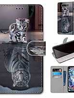 cheap -Case For LG Q70 / LG K50S / LG K40S Wallet / Card Holder / with Stand Full Body Cases Cat Becomes Tiger PU Leather / TPU for LG K30 2019 / LG K20 2019