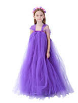 cheap -Princess Dress Flower Girl Dress Girls' Movie Cosplay A-Line Slip Purple Dress Children's Day Masquerade Tulle Cotton