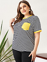 cheap -Women's Plus Size Striped Patchwork Loose T-shirt Basic Daily Sports Blue