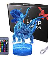 cheap -Dinosaur Gifts Night Light  Raptors 3D Lamp Lighting Lights for Kids 16 LED Color Changing Touch Table Desk Lamps Cool Toys Gifts Birthday Xmas Decoration