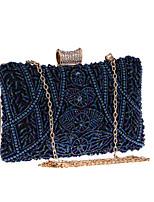 Недорогие -Жен. Цепочки Полиэстер Вечерняя сумочка Сплошной цвет Миндальный / Синий / Серебряный