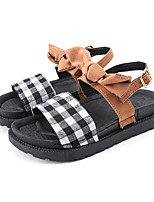 cheap -Women's Sandals Flat Sandal Summer Flat Heel Open Toe Casual Daily Outdoor Bowknot Canvas Black / Khaki