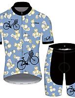 Недорогие -21Grams Муж. С короткими рукавами Велокофты и велошорты Синий Цветочные ботанический Велоспорт Устойчивость к УФ Быстровысыхающий Виды спорта С узором Горные велосипеды Шоссейные велосипеды Одежда