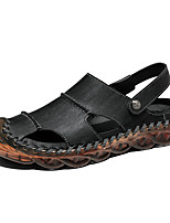 cheap -Men's Fall / Spring & Summer Casual Daily Outdoor Sandals Cowhide Breathable Non-slipping Shock Absorbing Black / Brown