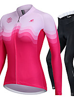 cheap -Nuckily Women's Long Sleeve Cycling Jersey with Tights Fuchsia Bike Sports Lines / Waves Road Bike Cycling Clothing Apparel