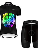 cheap -21Grams Women's Short Sleeve Cycling Jersey with Shorts Polyester Black / Blue Gradient Animal Lion Bike Clothing Suit Breathable Quick Dry Ultraviolet Resistant Reflective Strips Sweat-wicking Sports