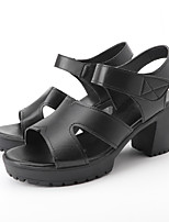 cheap -Women's Sandals Summer Block Heel Open Toe Daily PU Black