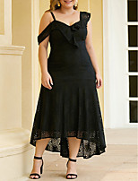 cheap -Sheath / Column Elegant Plus Size Party Wear Wedding Guest Dress Spaghetti Strap Sleeveless Ankle Length Lace with Ruffles Lace Insert 2020