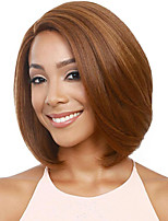 cheap -Synthetic Wig kinky Straight Asymmetrical Wig Short Light golden Light Brown Synthetic Hair 18 inch Women's Easy to Carry Women Easy dressing Blonde Light Brown