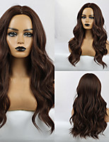 cheap -Synthetic Wig Bangs Wavy Body Wave Middle Part Side Part Wig Long Brown Synthetic Hair 24 inch Women's Cosplay Classic Synthetic Brown HAIR CUBE / African American Wig