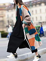 cheap -Women's Fall Winter Coat Daily Going out Geometric Abstract Regular Color Block Khaki S / M / L