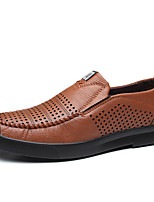 cheap -Men's Fall Daily Outdoor Loafers & Slip-Ons Walking Shoes Faux Leather Breathable Wear Proof Black / Brown