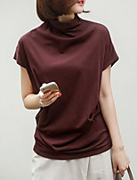 cheap -Women's Solid Colored Loose T-shirt Daily Cowl Wine / White / Black / Khaki / Brown