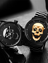 cheap -Men's Sport Watch Quartz Stainless Steel 30 m Water Resistant / Waterproof Calendar / date / day Skull Analog Fashion Cool - Black Gold One Year Battery Life
