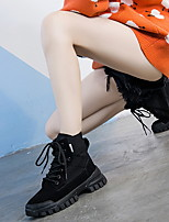 cheap -Women's Boots Summer Flat Heel Round Toe British Daily Cowhide Booties / Ankle Boots Black / Gray