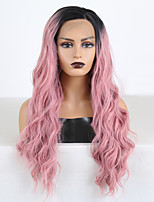cheap -Synthetic Lace Front Wig Wavy Middle Part Lace Front Wig Pink Ombre Long Ombre Pink Synthetic Hair 18-26 inch Women's Cosplay Soft Party Pink Ombre