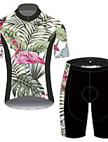 cheap -21Grams Men's Short Sleeve Cycling Jersey with Shorts Pink+Green Flamingo Floral Botanical Bike UV Resistant Quick Dry Sports Flamingo Mountain Bike MTB Road Bike Cycling Clothing Apparel / Stretchy